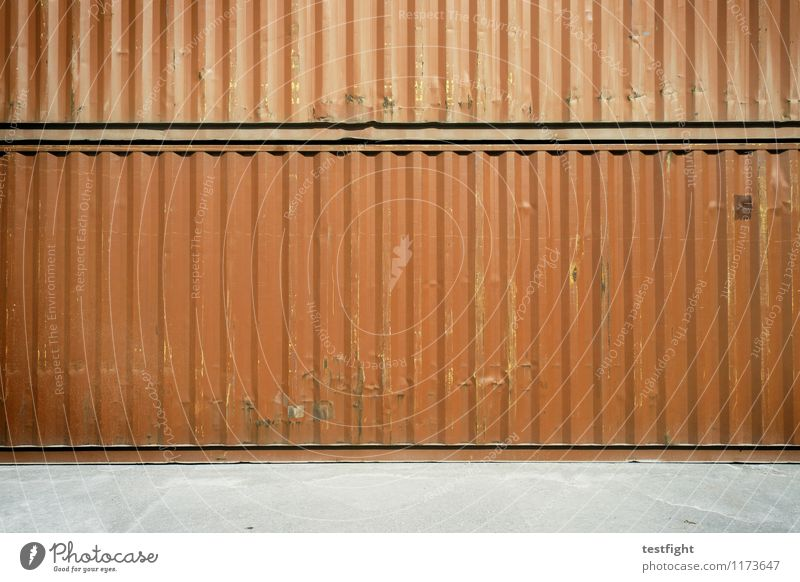 container Metal Steel Rust Work and employment Old Authentic Dirty Sharp-edged Large Red Logistics Container Trade Storage Goods Cargo hold Harbour Colour photo