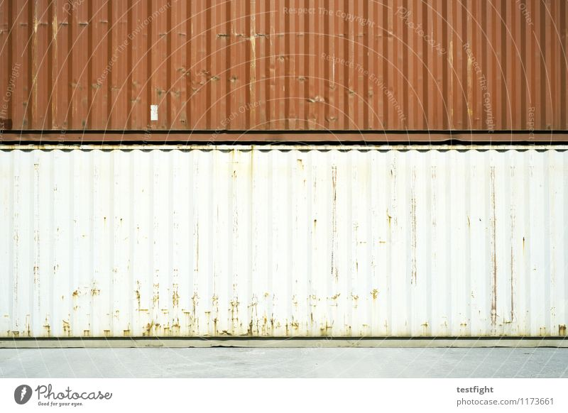 container II Container Metal Steel Old Sharp-edged Large Red White Storage Goods Logistics Trade Colour photo Exterior shot Copy Space middle Light Shadow