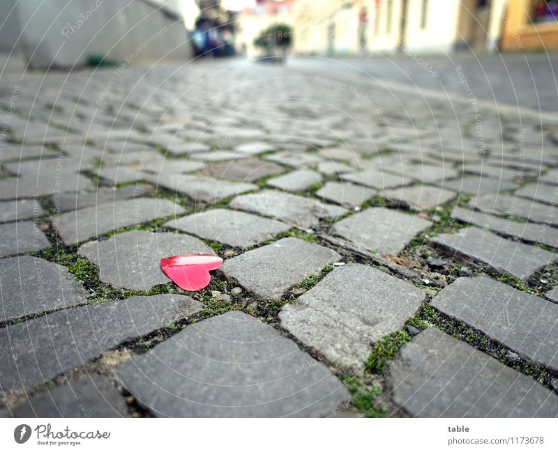what remains . . . Happy Flirt Valentine's Day Wedding Town Old town Street Sidewalk Kitsch Odds and ends Heart Stone Metal Plastic Sign Lie Glittering Small