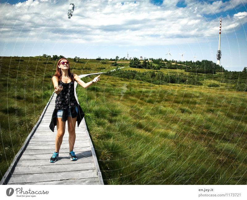 Human being Woman Sky Child Nature Vacation & Travel Youth (Young adults) Summer Young woman Landscape Clouds 18 - 30 years Adults Life Grass Feminine