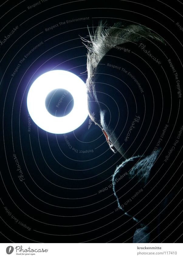 Human being Man Dark Black Face Lighting Hair and hairstyles Lamp Dangerous Circle Threat Round Anonymous Scarf Eerie Criminal