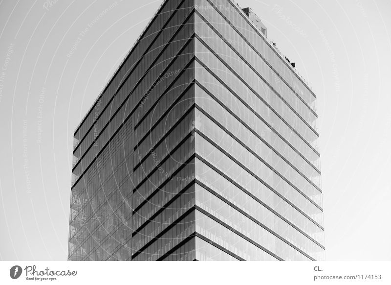 skyscraper Sky Cloudless sky Beautiful weather Town High-rise Manmade structures Building Architecture Facade Tall Black & white photo Exterior shot Deserted