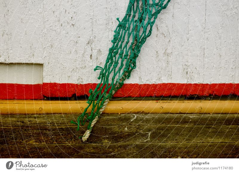Iceland Navigation Fishing boat Watercraft On board Wood Multicoloured Yellow Green Red Dye Paintwork Fashioned Net Fishing net Fishery Stripe Colour photo