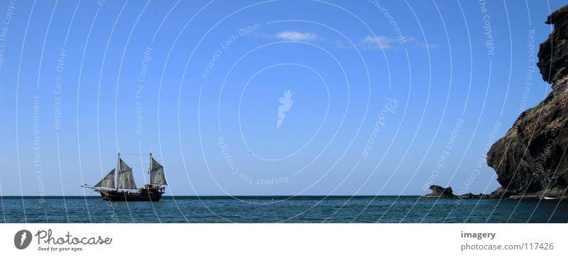 Old Sky Ocean Blue Beach Far-off places Coast Success Rock Discover Past Andalucia Navigation Sail Pirate Sailing ship