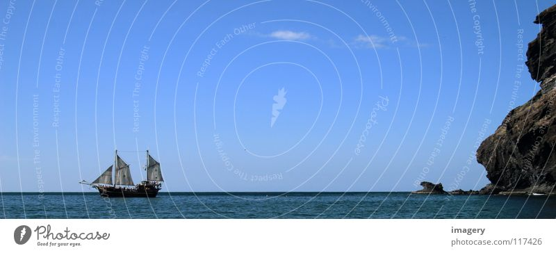 Old Sky Ocean Blue Beach Far-off places Coast Success Rock Discover Past Andalucia Navigation Sail Pirate Sailing ship