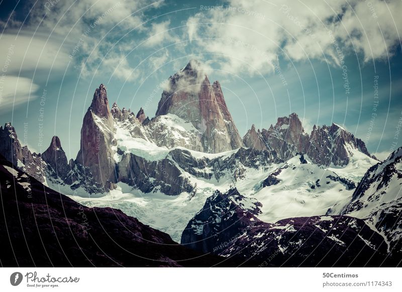 Fitz Roy Leisure and hobbies Vacation & Travel Tourism Trip Adventure Far-off places Freedom Winter Snow Winter vacation Mountain Nature Clouds
