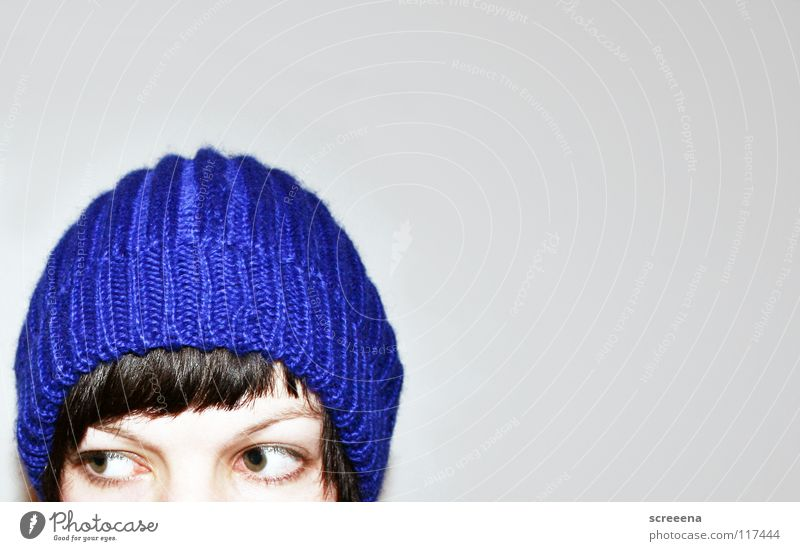 Woman Blue Winter Loneliness Eyes Cold Warmth Hair and hairstyles Gray Brown Protection Physics Hat Cap Bangs Face