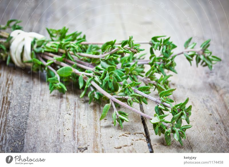 thyme Thyme Bundle Bound Herbs and spices Kitchen Sense of taste Plant Aromatic Healthy Eating Nutrition Near Close-up Twig Fresh Vegetable Vegetarian diet Wood