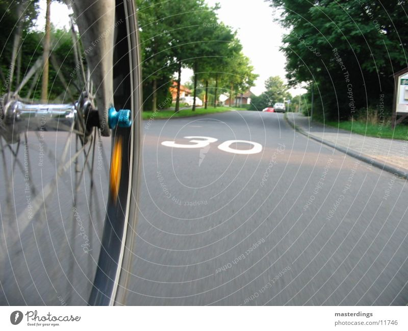 30s zone 30 mph zone Speed Bicycle Reflector Tar Photographic technology Street Spokes Perspective way to school