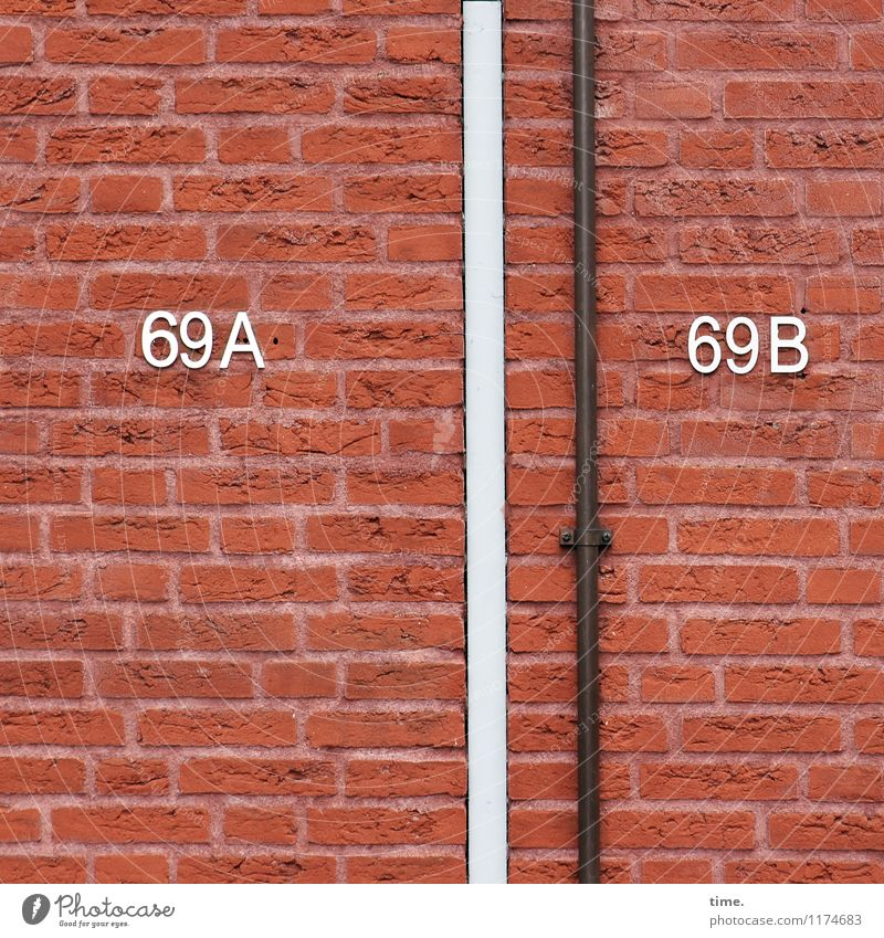 so that nothing gets mixed up House (Residential Structure) Manmade structures Building House number Conduit Brick Brick wall Brick facade Brick-built house