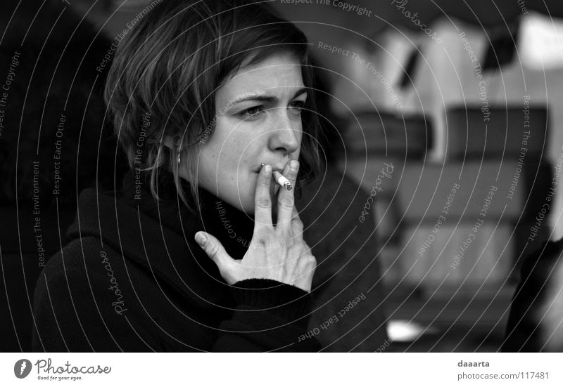 smoke. forbid Lady Black & white photo bw woman French France outside sommieres face