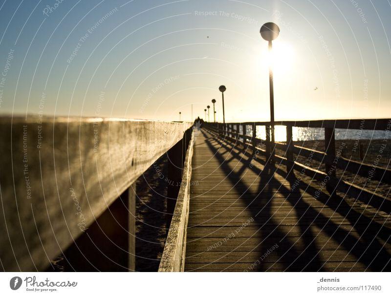 Sea value -3°C Footbridge Ocean Back-light Shadow play Winter Baltic Sea sea bridge Baltic seaside resort Pelzerhaken Sun