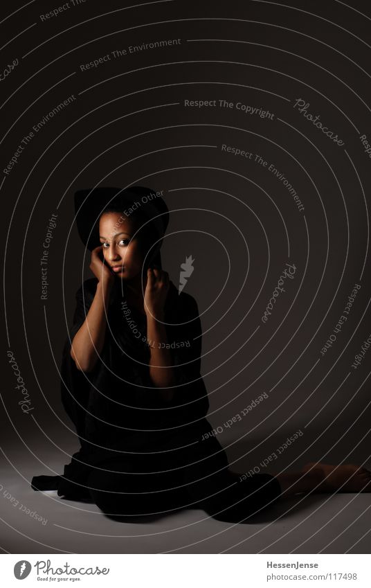 Person 1 Black Lady Timidity Loneliness Emotions Insecure Hand Background picture Consistent Grief Distress Africa Woman Looking Hat Protection strip light Arm