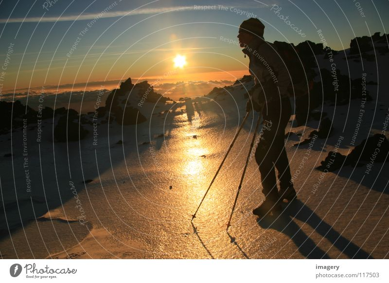 Snow Mountain Contentment Success Serene Stick Mountaineering Winter sports Climbing Tenerife Teide Icefield