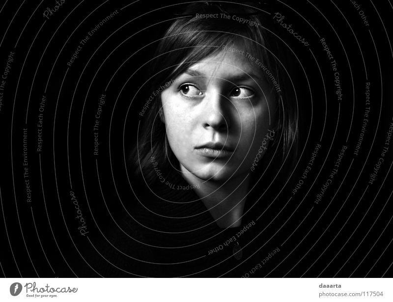 LT in FR Black & white photo bw woman Lithuanian France eyes serious thoughtful face
