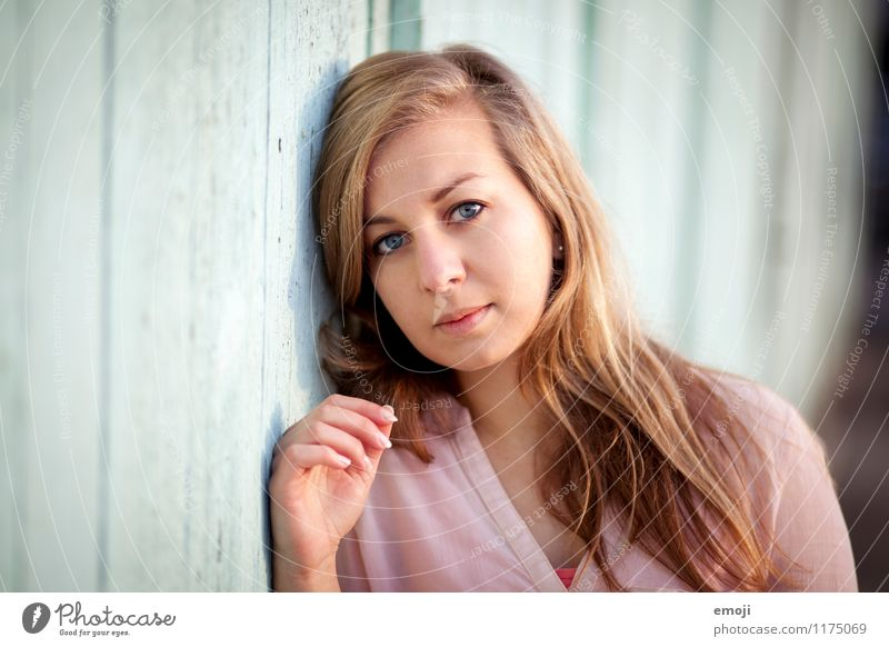 portrait Feminine Young woman Youth (Young adults) Face 1 Human being 18 - 30 years Adults Blonde Long-haired Beautiful Natural Colour photo Exterior shot Day