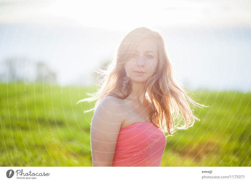 morning sun Feminine Young woman Youth (Young adults) 1 Human being 18 - 30 years Adults Environment Nature Summer Beautiful weather Blonde Long-haired Natural