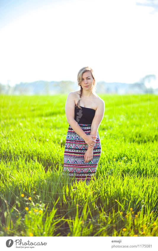 Human being Nature Youth (Young adults) Beautiful Green Young woman Landscape 18 - 30 years Adults Environment Spring Natural Feminine Fashion Field