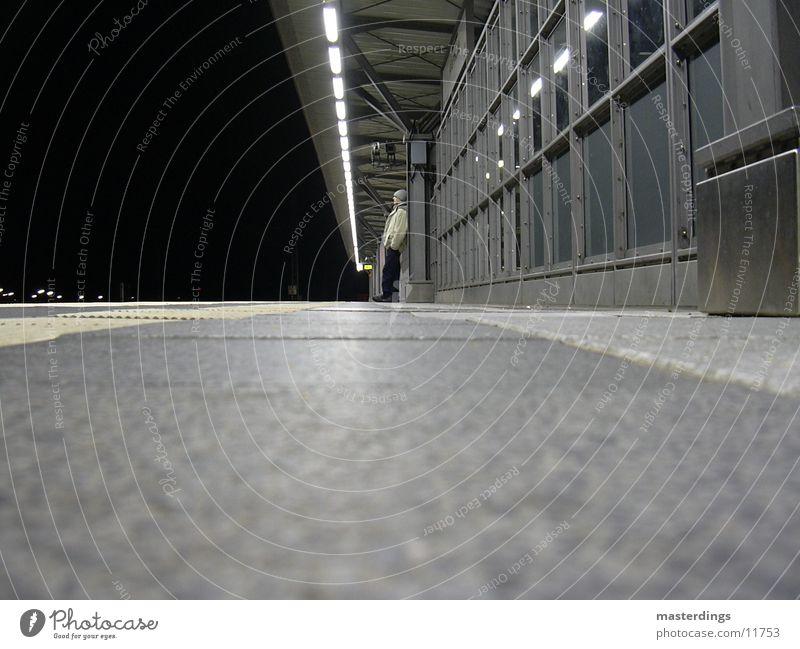 Man Loneliness Dark Cold Wait Train station