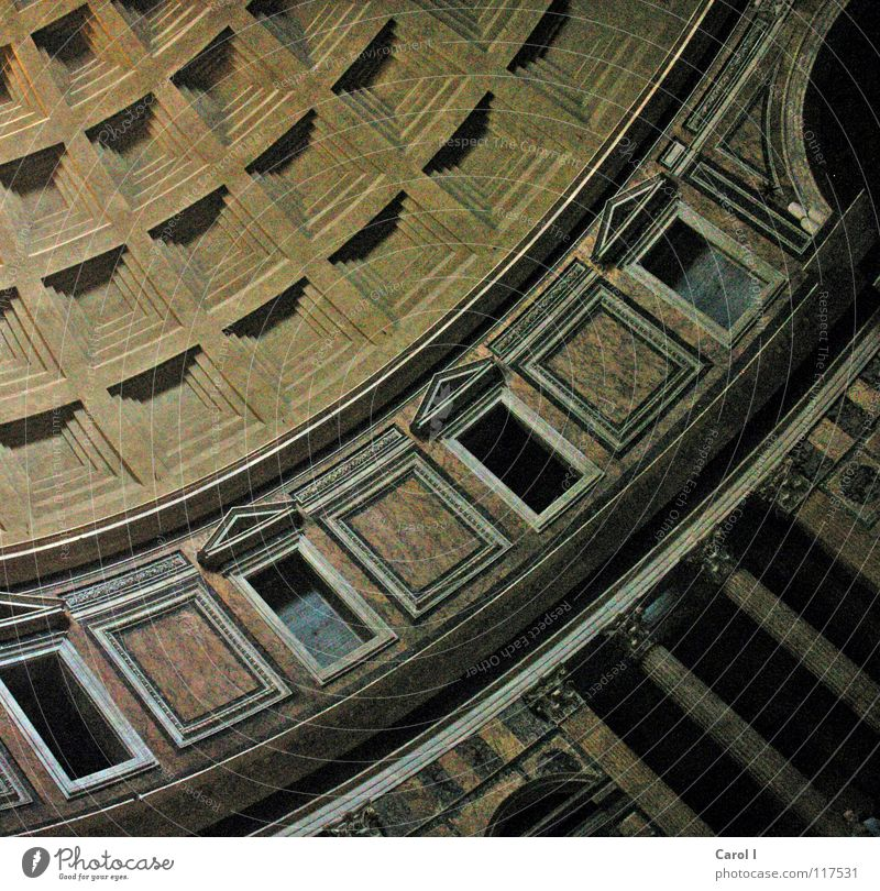 From the old days Domed roof Rome Checkered Round Window Sharp-edged Diagonal Gable Art Roman era Building Large Bulky Prop Wall (barrier) Doric style