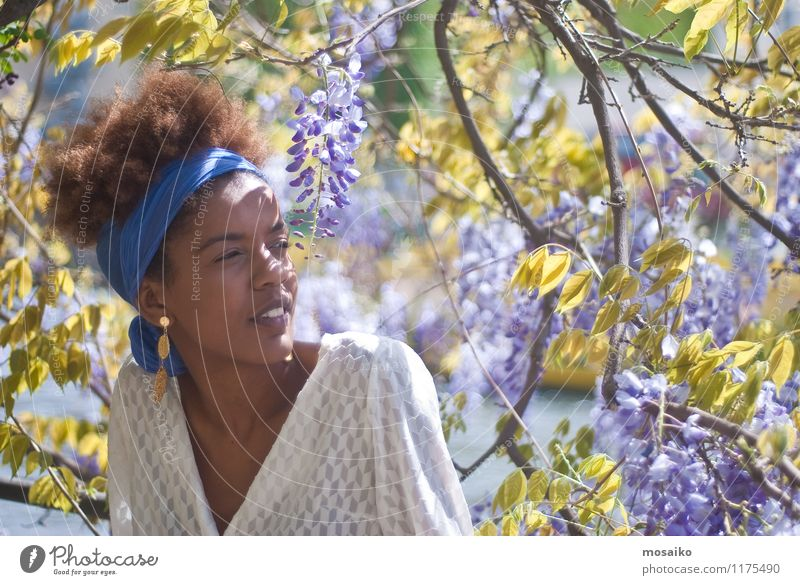 Young woman in spring Lifestyle Style Exotic Beautiful Summer Human being Feminine Youth (Young adults) Woman Adults 1 18 - 30 years Nature Spring Flower Garden
