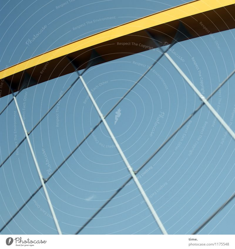 Under tension Sky Beautiful weather Bridge Manmade structures Building Architecture Metal Steel Line Net Prop Blue Yellow Silver Stress Design Advancement