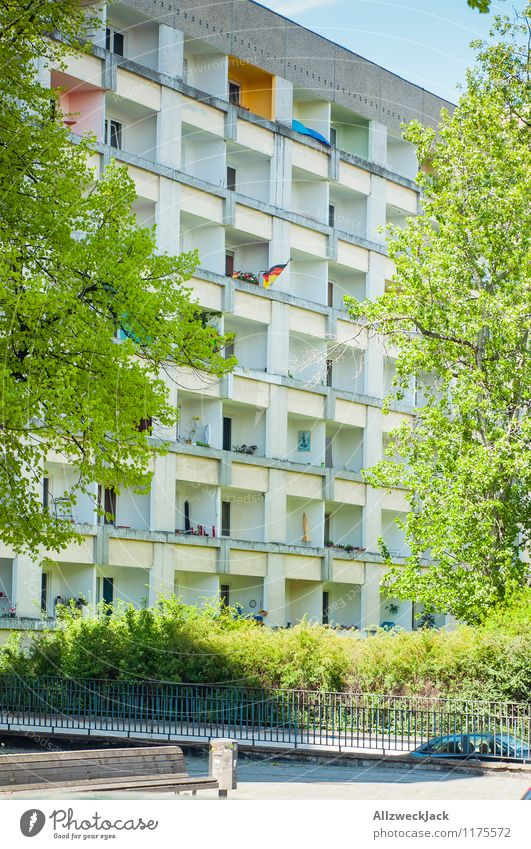 political statement Potsdam Town Downtown High-rise Prefab construction Balcony Flag German Flag Sign Society Politics and state Protest Patriotism Civic pride