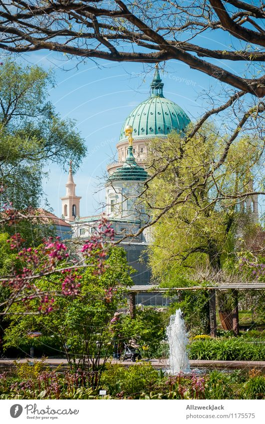 city park idyll Plant Spring Beautiful weather Park Potsdam Town Old town Deserted Church Manmade structures Architecture Tourist Attraction Landmark
