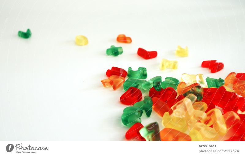 delicious sans Letters (alphabet) Typography Characters Multicoloured Rubber Gummy bears Yellow Green Blur Heap Under Education Joy Latin alphabet word words