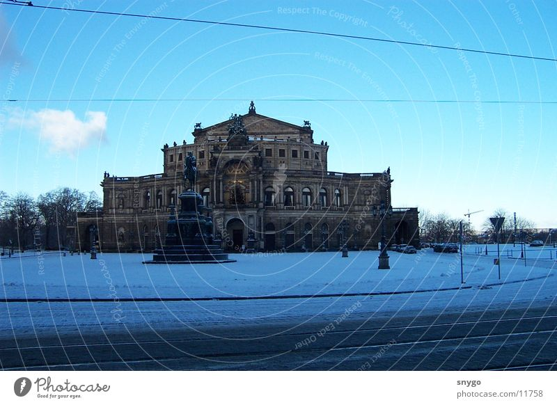 Winter Cold Snow Architecture Frost Dresden Monument Historic Blue sky Famousness Saxony Semper Opera Famous building Historic Buildings