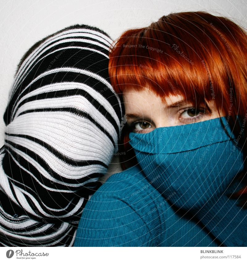 mrms2 Man Woman Turquoise Roll-necked sweater Sweater Scarf Stripe Black White Hand Red Red-haired Haircut Glittering Beautiful Shoulder Concealed Wool Rope