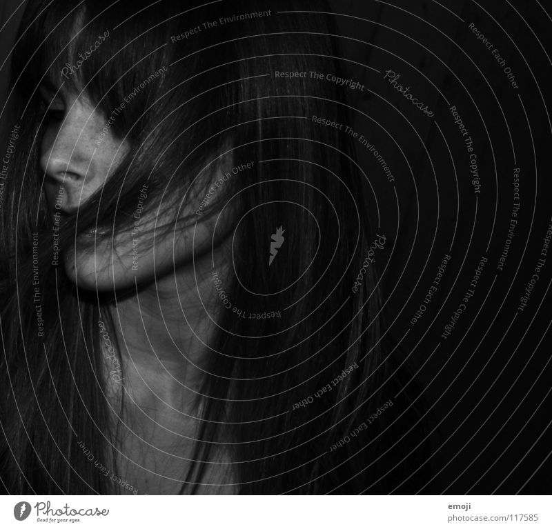Woman White Beautiful Black Dark Hair and hairstyles Nose Beauty Photography Hide Side Concealed