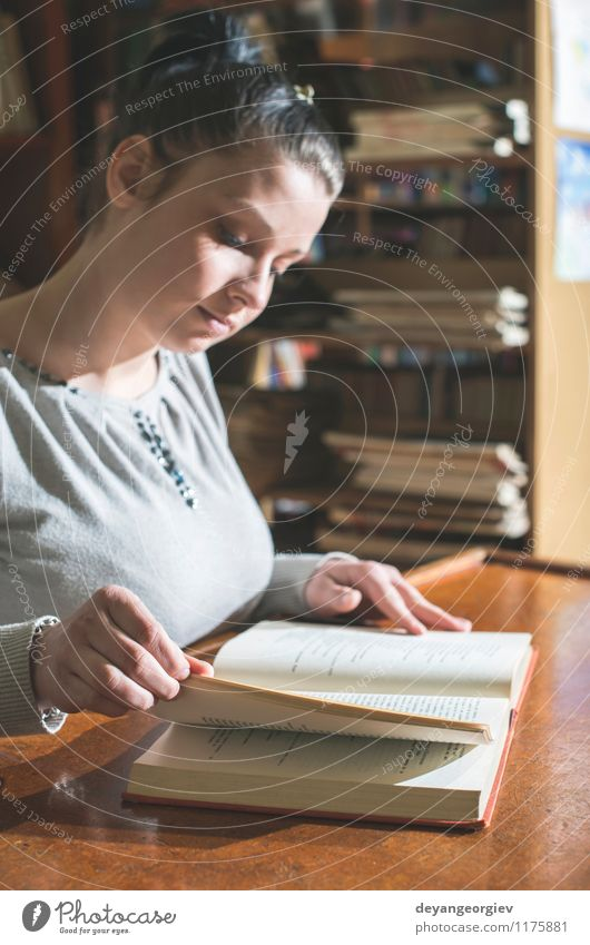 Student girl in a library Lifestyle Style Beautiful Reading Table School Study Academic studies Human being Girl Woman Adults Book Library Old Retro White young