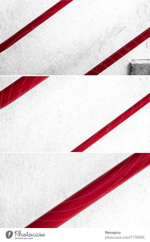 White Red Wall (building) Architecture Wall (barrier) Stairs Banister Classic Bauhaus Collage Dessau
