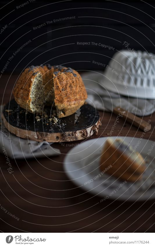 Poppy-seed cake Cake Dessert Candy Gugelhupf Nutrition Slow food Dark Delicious Sweet Colour photo Interior shot Deserted Day Low-key Shallow depth of field