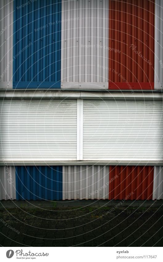 WINDOWS IN FRENCH III Window Sleep Dark Closed Wall (building) Building Tin Roller blind Safety France Stripe Fashioned Multicoloured Vertical Derelict