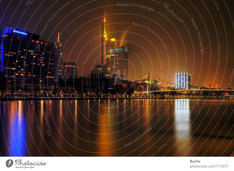 Frankfurt on the Main at night Night Glittering High-rise Long exposure Light Water River