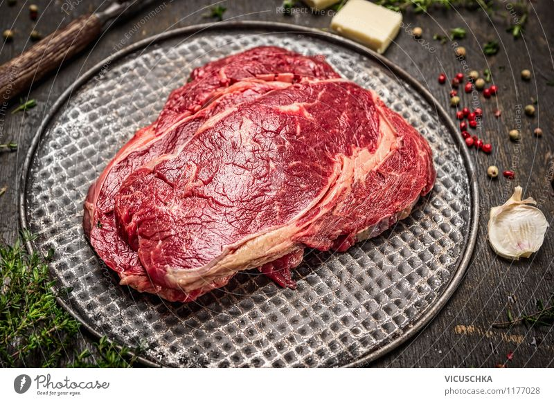 Healthy Eating Style Food photograph Essen Design Nutrition Table Cooking & Baking Herbs and spices Organic produce Meat Dinner Lunch Raw Steak