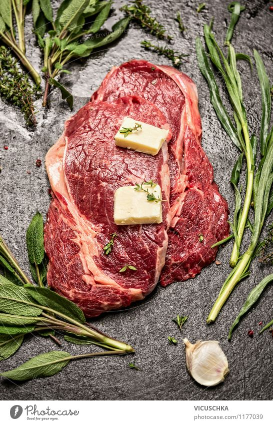 Prepare steaks with herbs and butter Food Meat Dairy Products Herbs and spices Nutrition Dinner Picnic Organic produce Diet Style Design Healthy Eating Life
