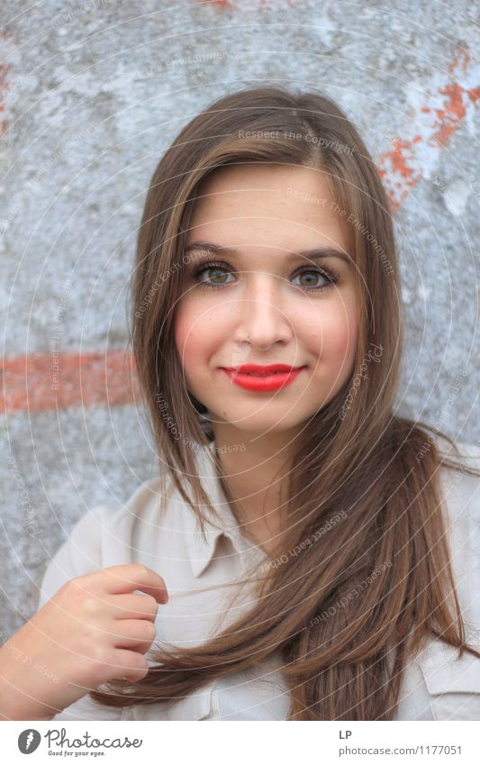 L1 Youth (Young adults) Beautiful Young woman Relaxation Red Calm Face Life Gray Hair and hairstyles Elegant Success To enjoy Smiling Uniqueness Soft