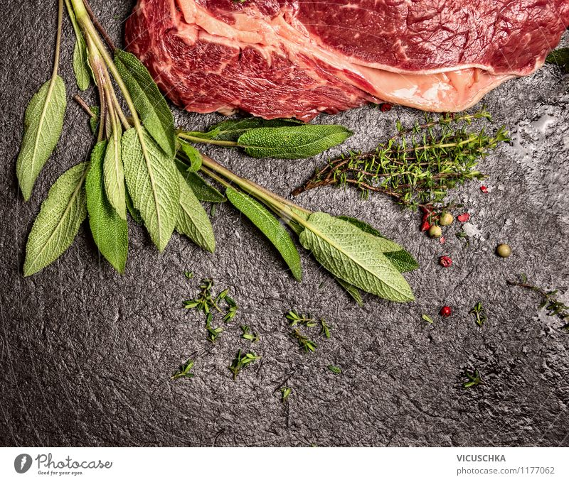 Beef with sage and thyme Food Meat Herbs and spices Nutrition Lunch Dinner Banquet Organic produce Diet Style Design Healthy Eating Table Kitchen