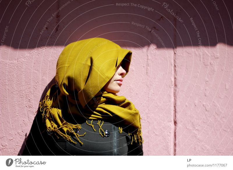 Profile and a scarf Youth (Young adults) Beautiful Green Young woman Calm Black Face Warmth Wall (building) Feminine Style Wall (barrier) Pink Dream Soft