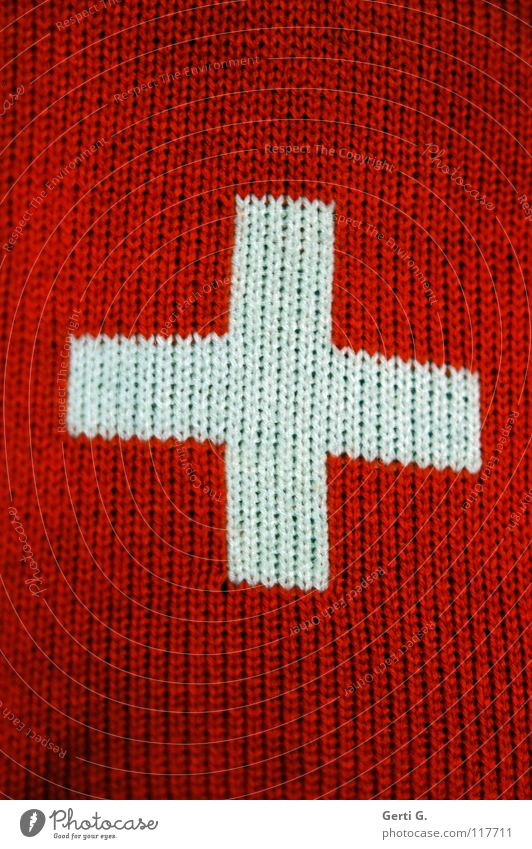 Rope Flag Switzerland Sign Craft (trade) Symbols and metaphors Sewing thread Rectangle Wool Knit Handcrafts Coat of arms Two-tone Ensign Swiss flag