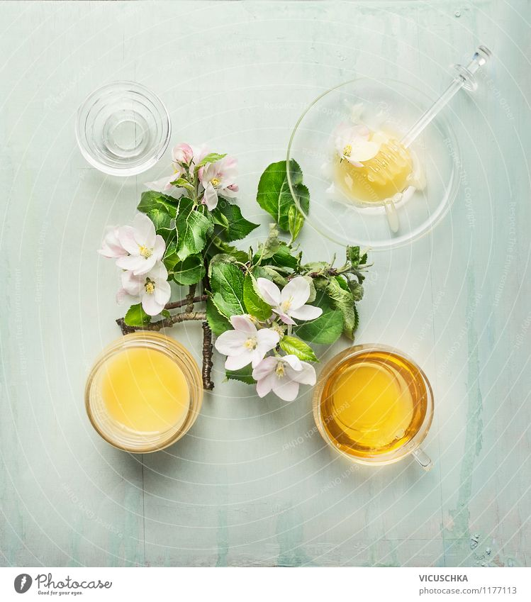 Honey with fresh fruit tree blossoms Food Candy Jam Nutrition Organic produce Vegetarian diet Diet Beverage Tea Crockery Plate Cup Mug Glass Spoon Life Nature