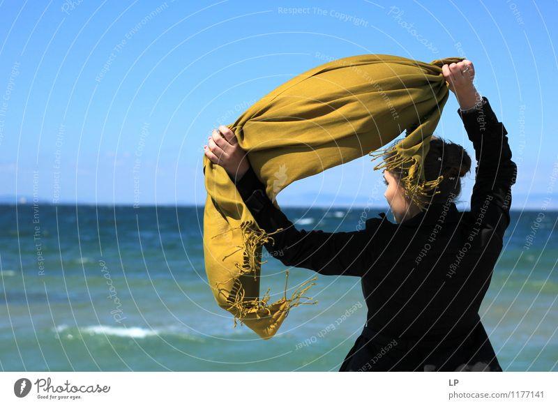 mustard scarf Human being Blue Beautiful Loneliness Calm Joy Far-off places Black Life Feminine Bright Dream Power Gold Back To enjoy
