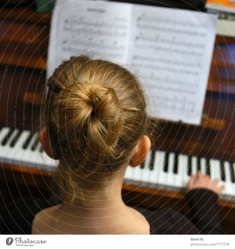 Child Hand Girl White Black Playing Music Wood Hair and hairstyles Skin Blonde Back Fingers Wing Concert Keyboard
