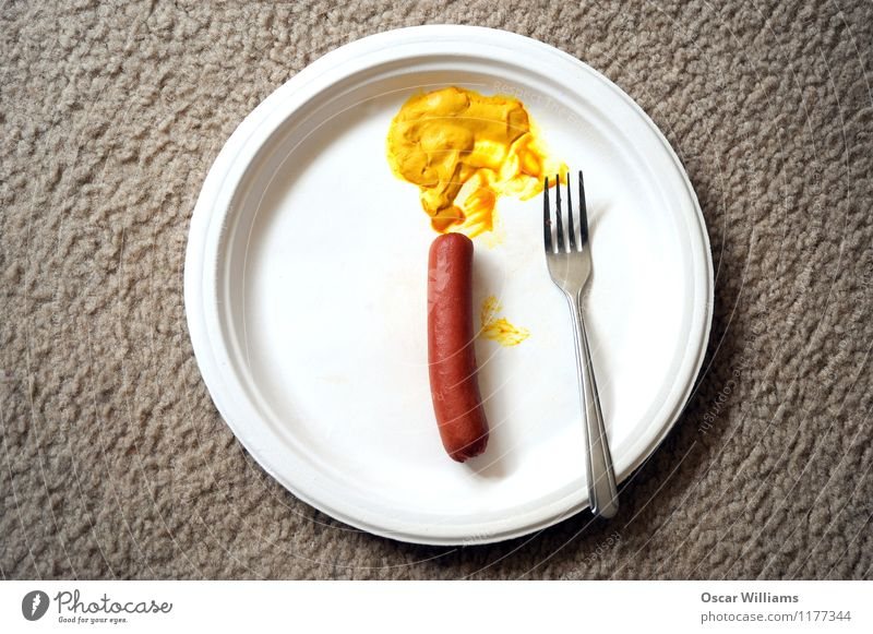 Hot dog and mustard. Eating Food Room Plate Meat Lunch Sausage Fast food