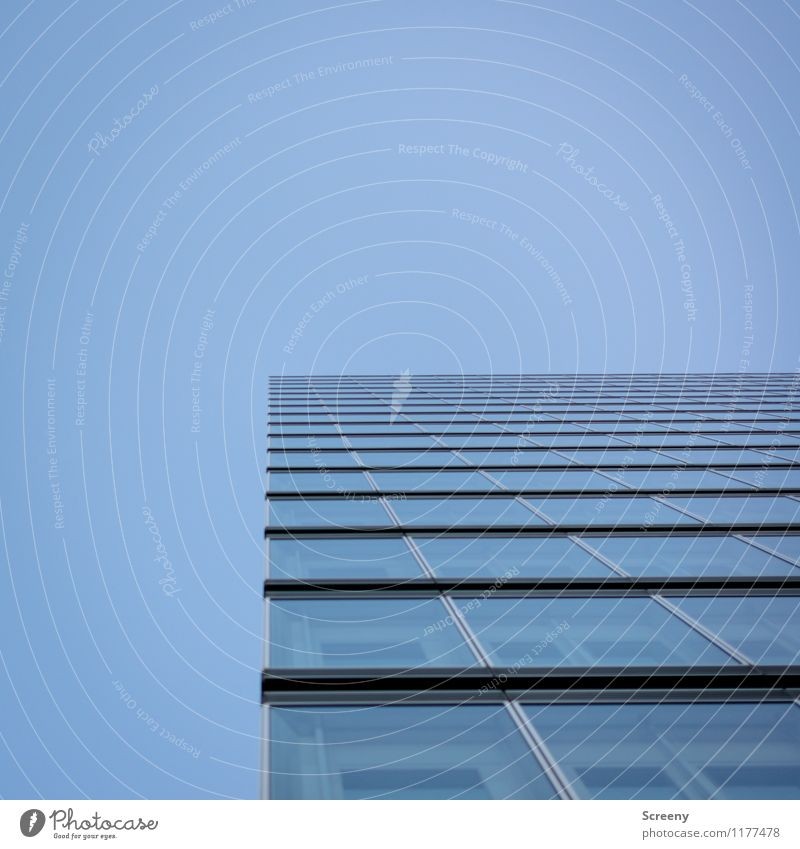 High up #1 Sky Cloudless sky Town High-rise Building Architecture Facade Window Tall Blue Colour photo Exterior shot Deserted Day Deep depth of field