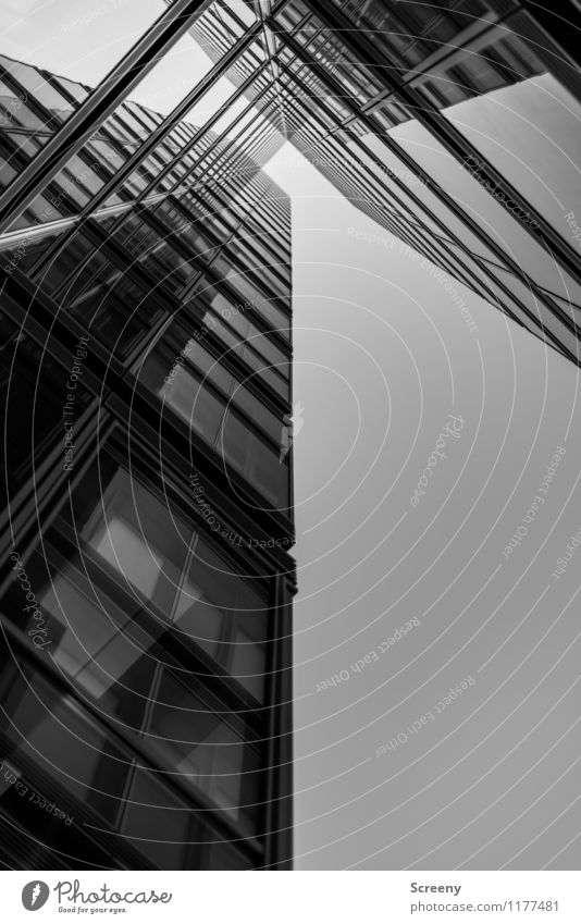 High up #4 Town High-rise Building Architecture Facade Window Glass Metal Tall Growth Black & white photo Exterior shot Deserted Day Reflection