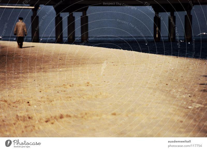 Human being Water Beach Calm Senior citizen Emotions Lake Sand Bridge Usedom Heringsdorf